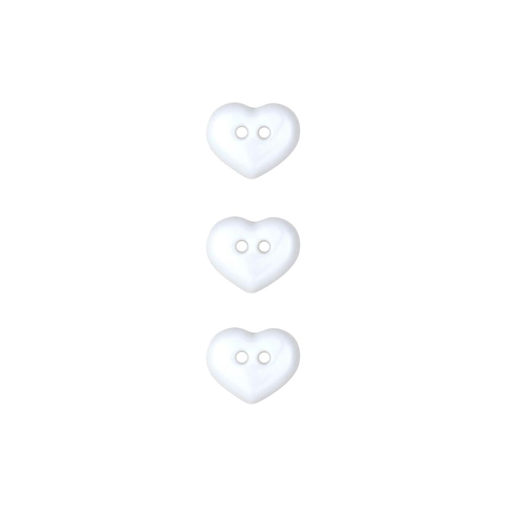 Dill Novelty Button 1/2'' Heart White