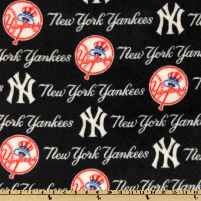 MLB Fleece New York Yankees Blue/Red/White Fabric By The Yard