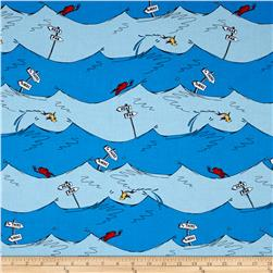 Dr. Seuss One Fish Two Fish Wave Stripe Blue
