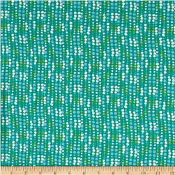 French Designer Rayon Lycra Knit Dots Green/Blue/Lime/White