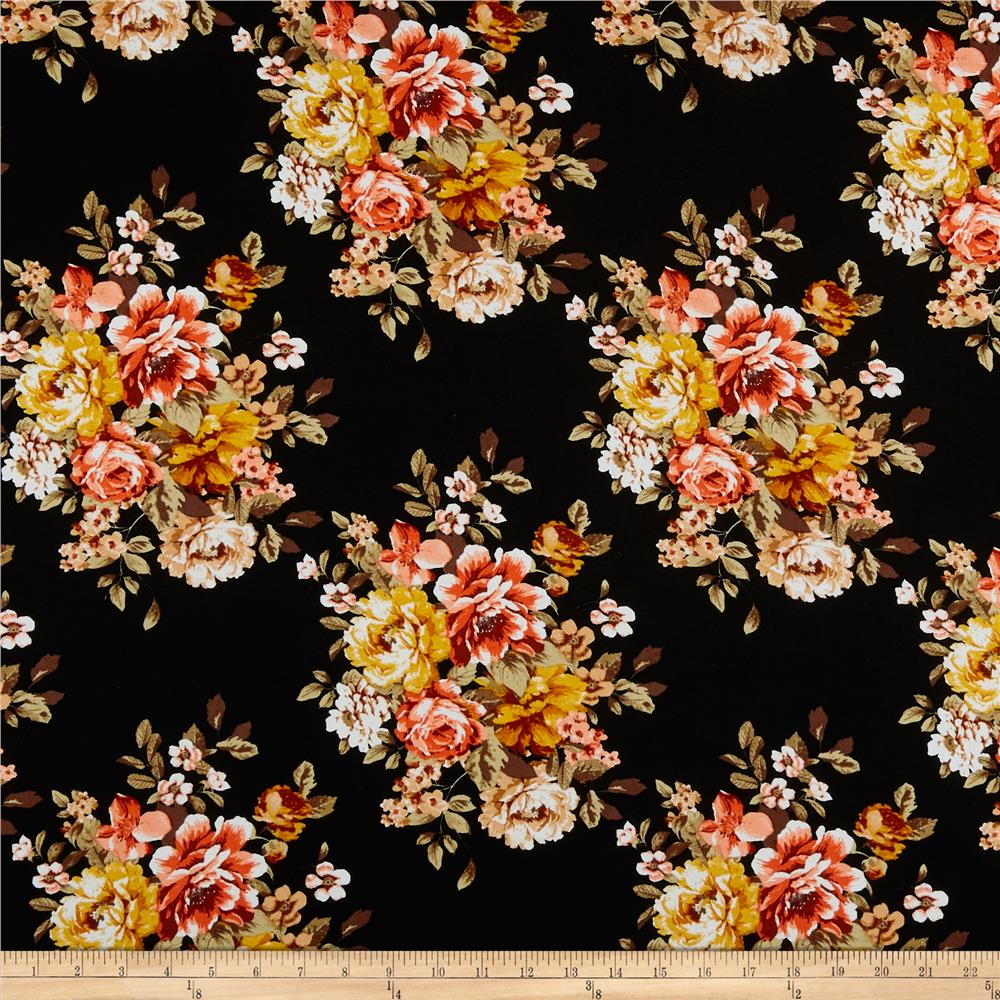 Black Flower Watercolor Art By Tae Lee: Rayon Challis English Floral Black/Coral