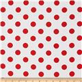 "Riley Blake 108"" Wide Medium Dot Red Reversed"
