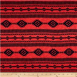 Stretch Jersey Knit Aztec Navy Coral