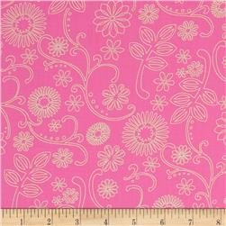 110'' Wide Quilt Back Signature Pink/Cream Fabric