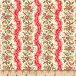 Victoria Park Floral Stripe Pink Fabric