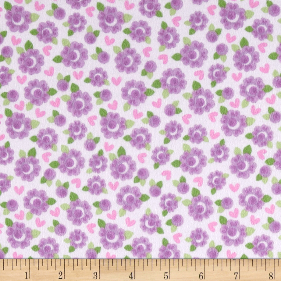 Riley Blake Lovey Dovey Flannel Roses Purple Fabric