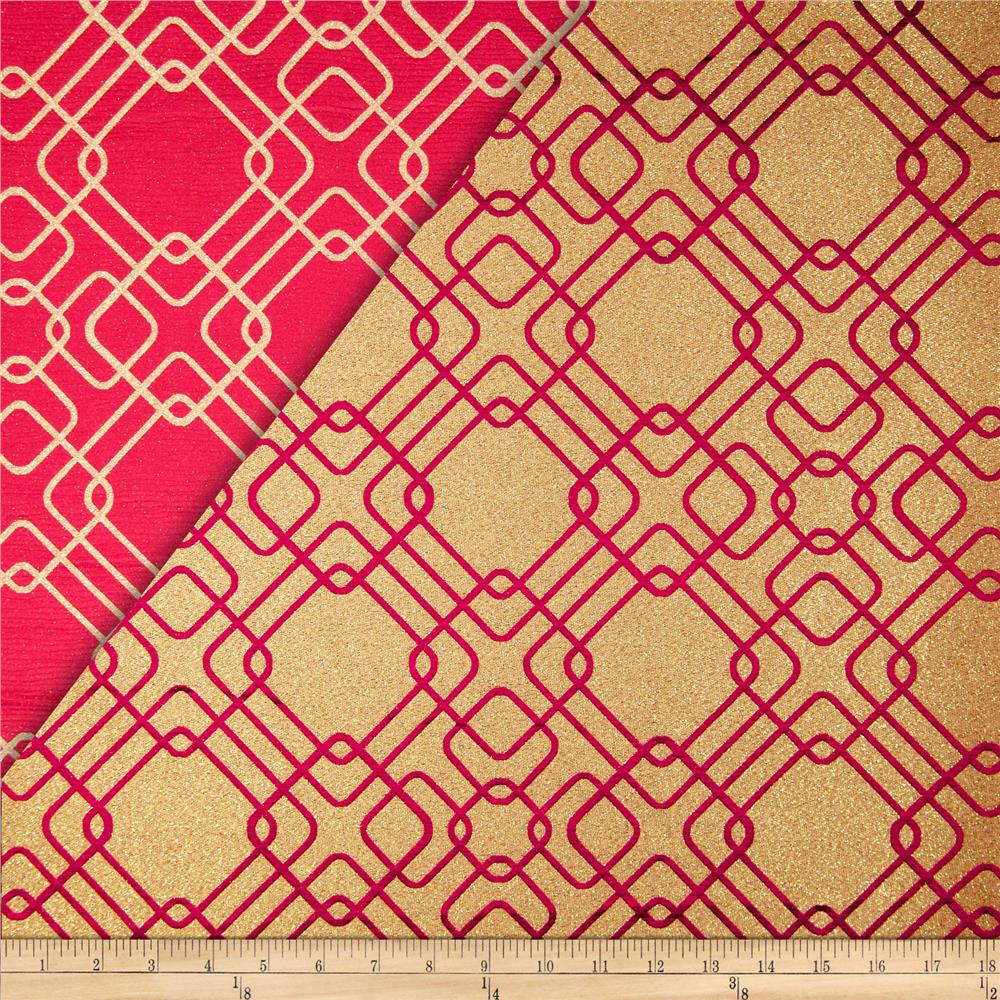 World Wide Rigel Metallic Geo Satin Jacquard Cranberry Fabric By The Yard