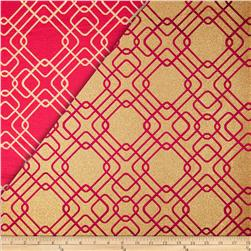 World Wide Rigel Metallic Geo Satin Jacquard Cranberry