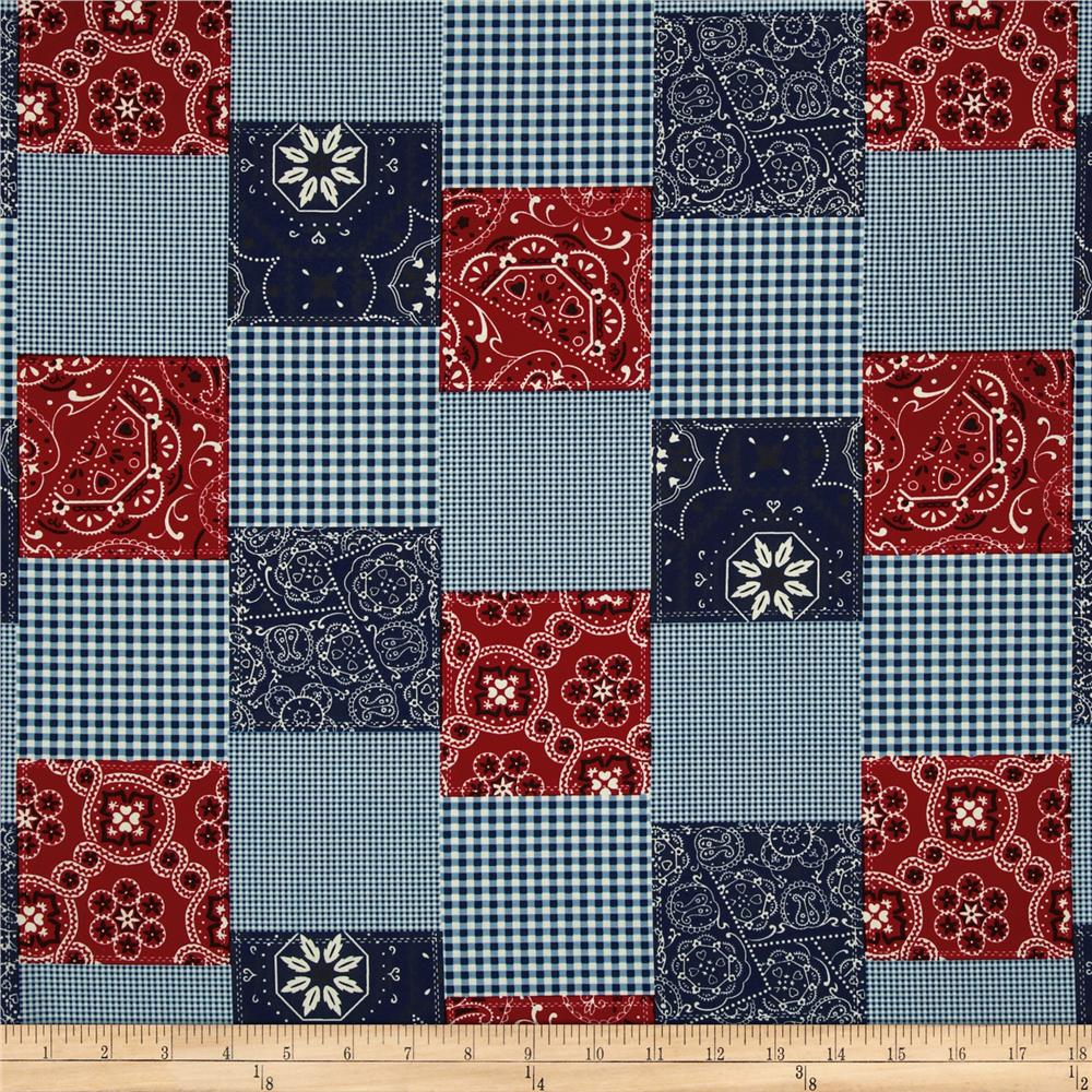 Michael Miller Bandana Patchwork Red Fabric By The Yard
