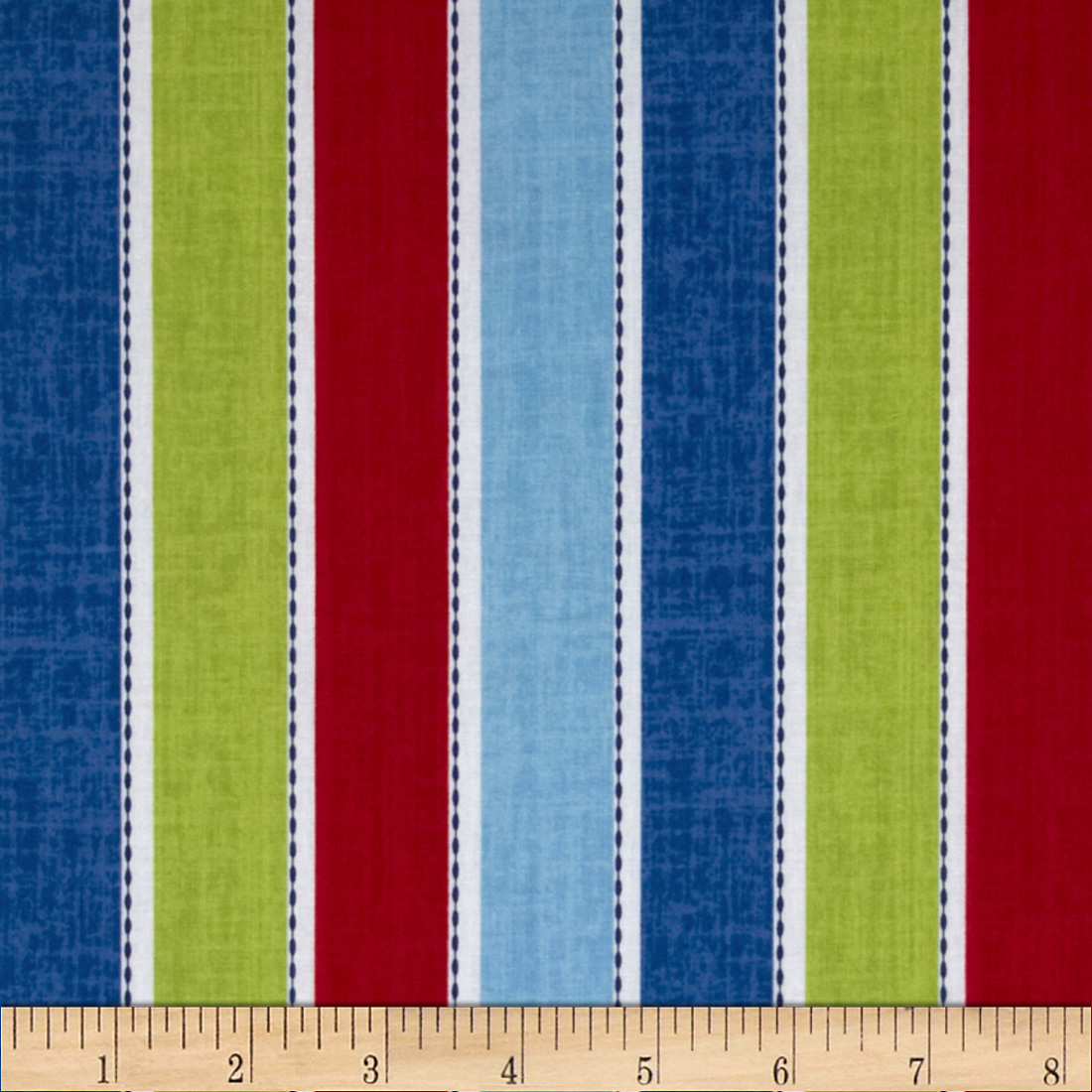 Ships Ahoy Stripe Blue Fabric