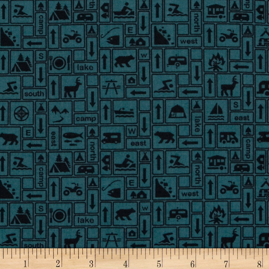 Mountain Majesty Camping Signs Dark Turquoise Fabric