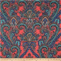 Jersey Knit Paisley Coral/Royal