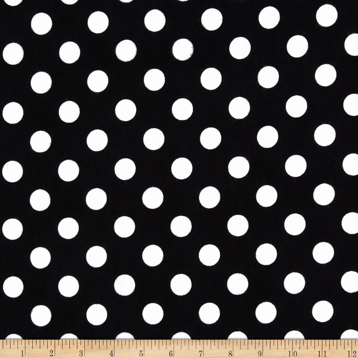 Riley Blake Flannel Basics Dots Medium Black Fabric