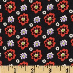 Crepe de Chine Floral Black/Orange/Lavender