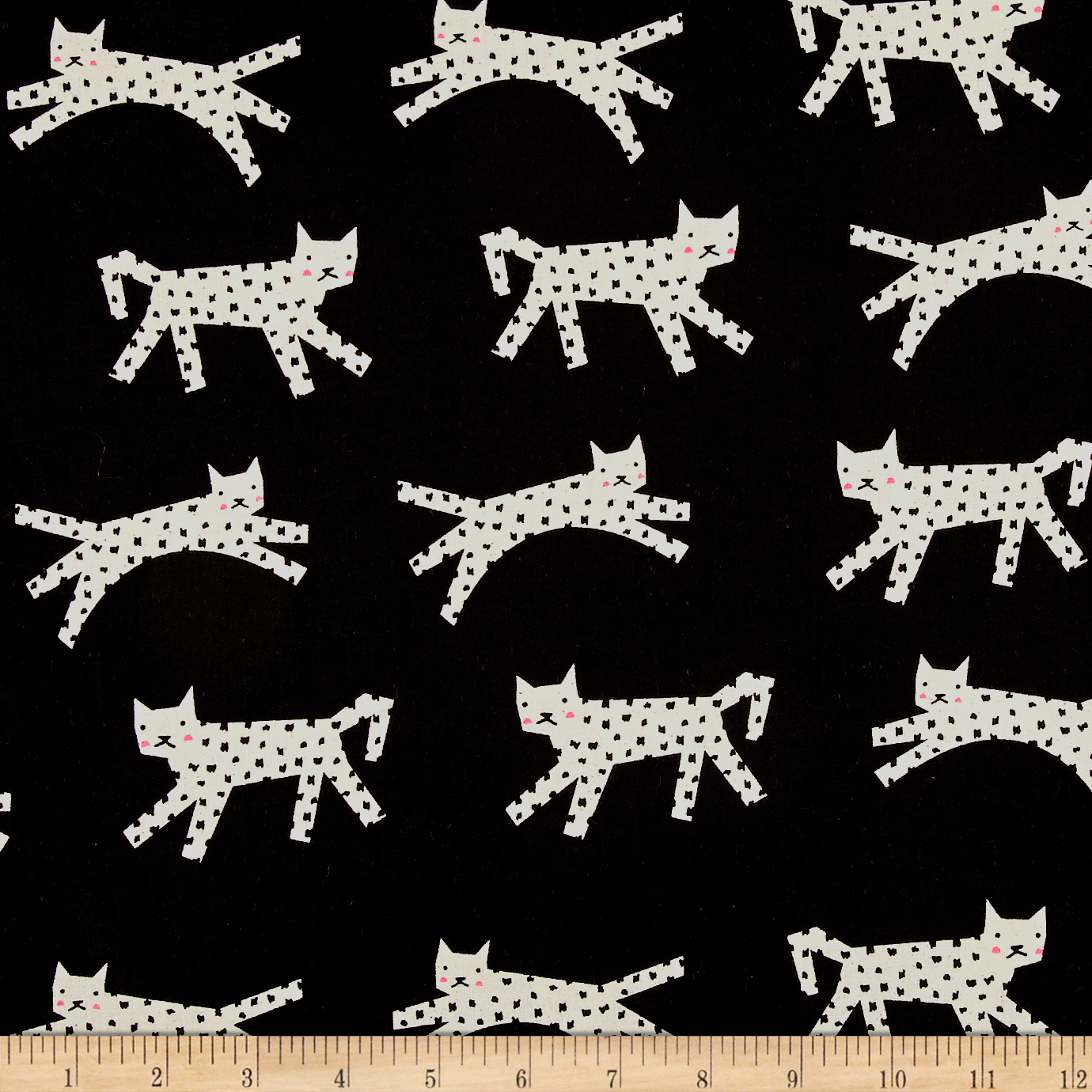 Image of Cotton + Steel Black & White 2017 Neon Snow Leopard Black Fabric