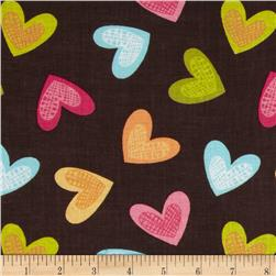 Newcastle Novelties Hearts Brown Fabric