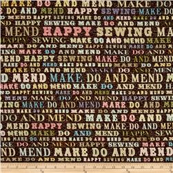 Make Do And Mend Sewing Words Brown