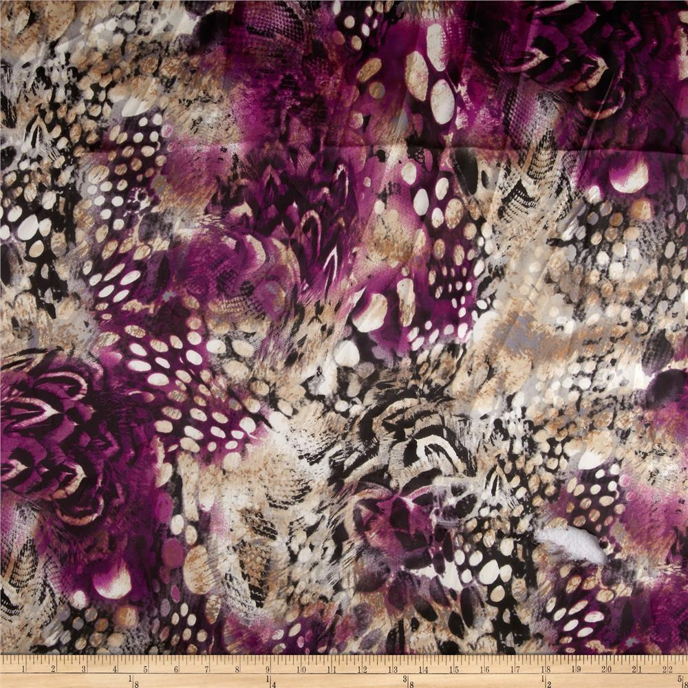 Breeze Crepe De Chine Abstract Plum