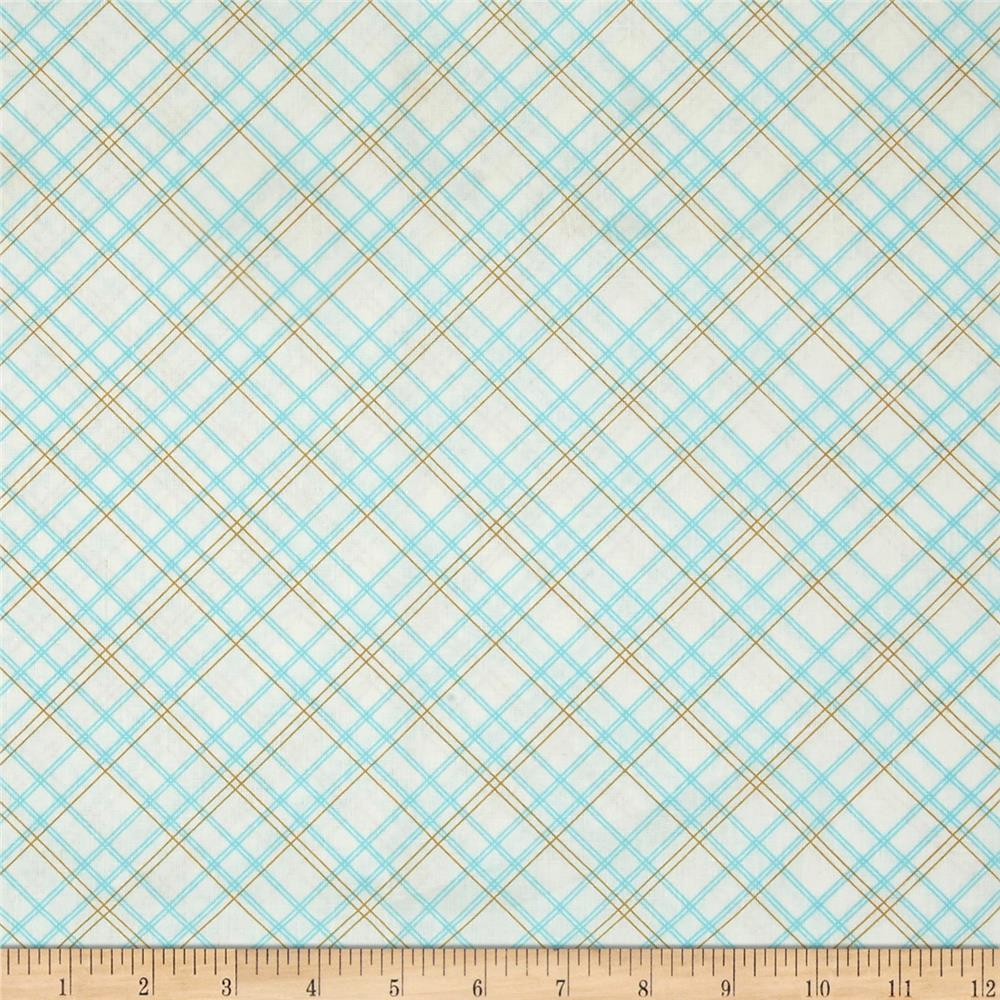 "Riley Blake Bee Backings and Borders 108"" Quilt Back Plaid Aqua"