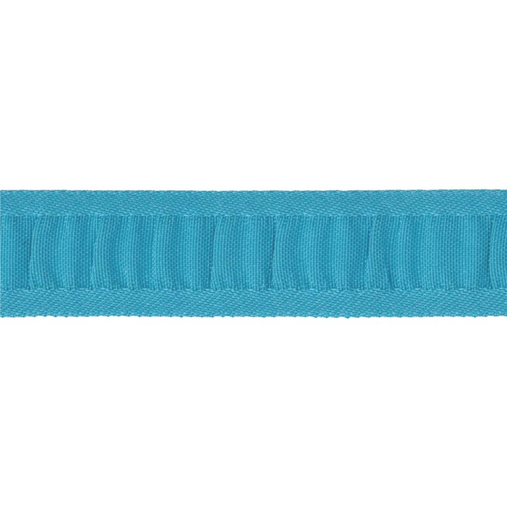 "7/8"" Ruched Ruffle Satin Edge Ribbon Turquoise"