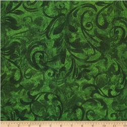 Christmas Flannel Swirls Green