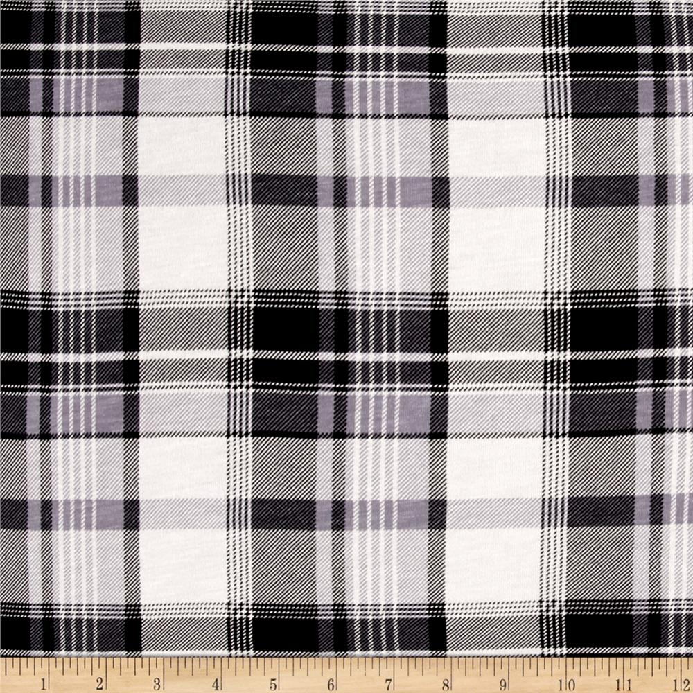 Jersey Knit Plaid Print Black/Grey