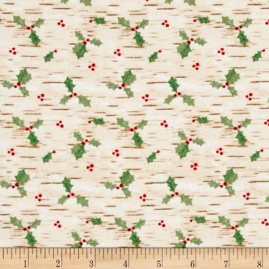 Woodland Noel Flannel Birch Texture & Holly Ecru