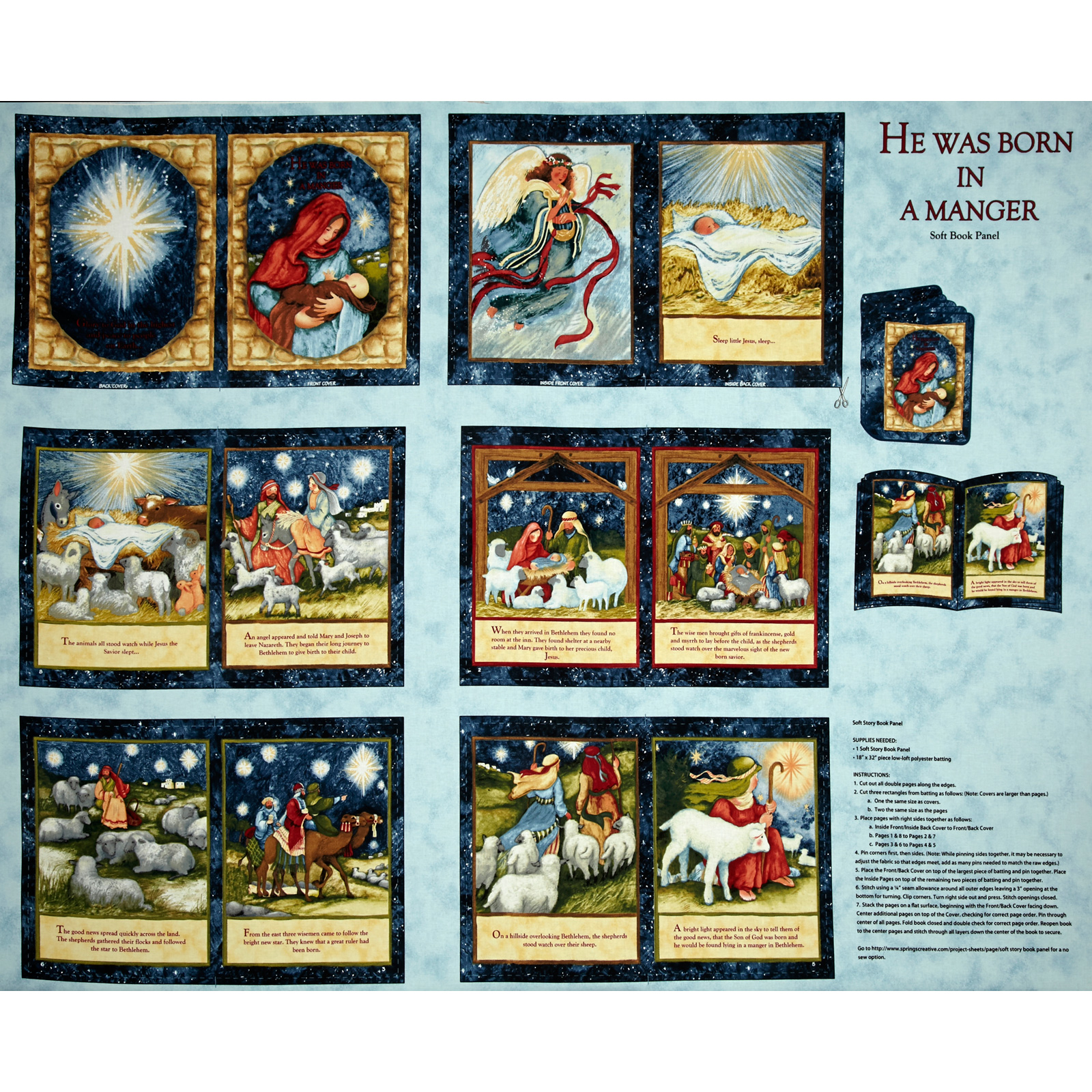 Christmas Nativity Softbook Panel Blue Fabric