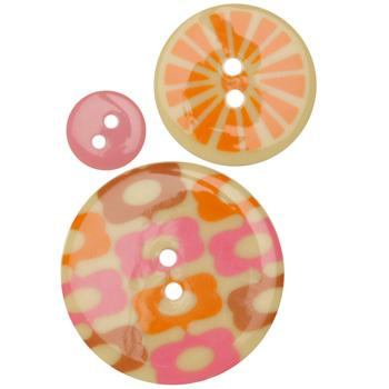 Fashion Buttons 1/2'', 1.00'', 1 3/8'' Coordinates Wood Bubbles Pink