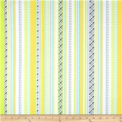 Kanvas Safari Playground Flannel Playground Stripe White Fabric