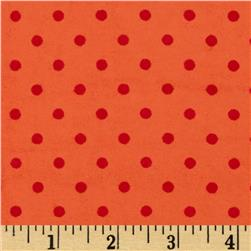Aunt Polly's Flannel Small Polka Dots Peach/Orange