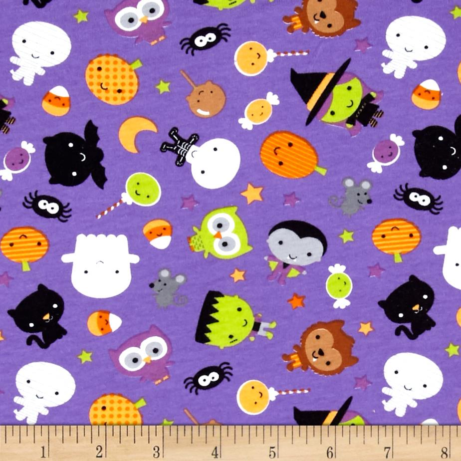 Riley Blake Cotton Jersey Knit Ghouls Main Purple Fabric By The Yard