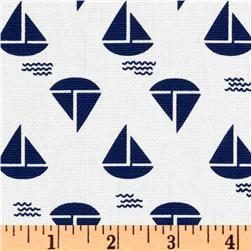 Anchors Away Sailboat Canvas White