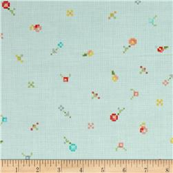Kaufman Woodland Clearing Geo Dot and Flower Turquoise