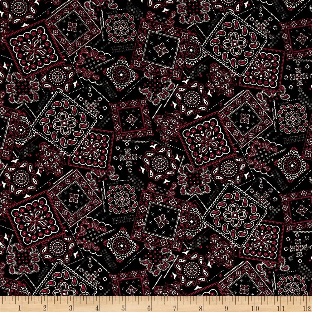 Kaufman Sevenberry Bandana Patch Black Fabric By The Yard