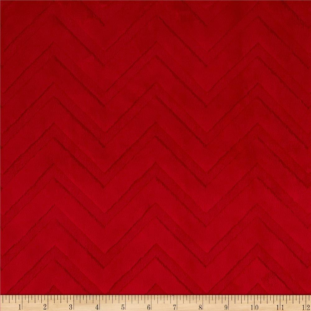 Minky Cuddle Embossed Chevron Red