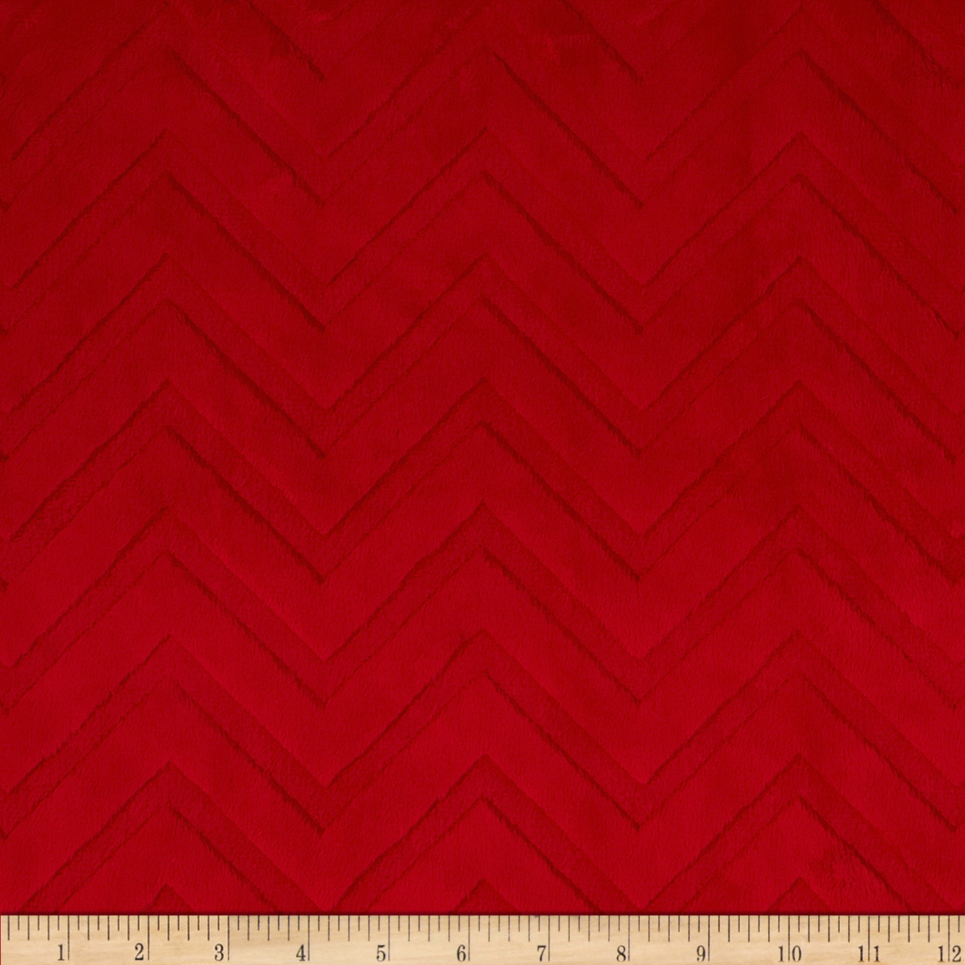 Shannon Minky Cuddle Embossed Chevron Red Fabric