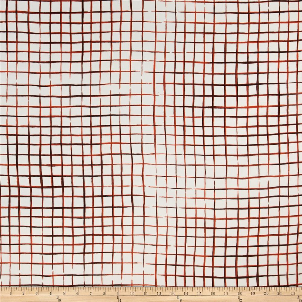 Crepe de Chine Squares Mod Plaid Orange
