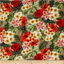 Rainforest Tropical Flowers Tan