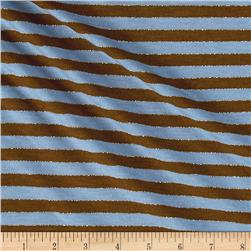 Jersey Knit Stripe Blue/Brown/Gold