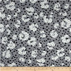Rayon Challis Abstract Dots Grey/White