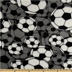 Fleece Soccer Balls Grey Fabric