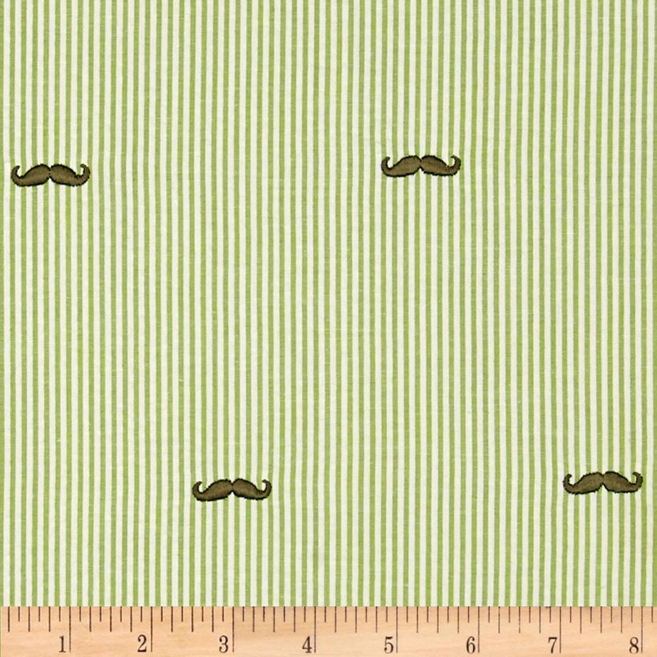 Embroidered Seersucker Lime/White Mustache Brown