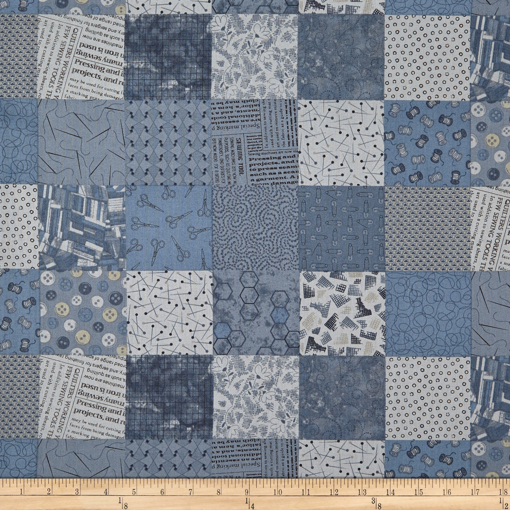 INOpets.com Anything for Pets Parents & Their Pets Fade In Sewing Squares Indigo Fabric