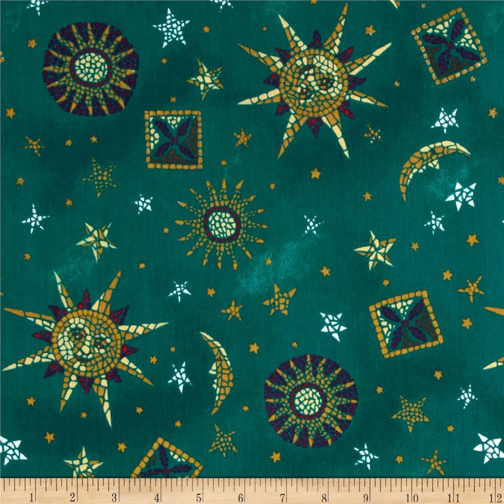 Poly cotton scrub celestial teal discount designer for Celestial pattern fabric