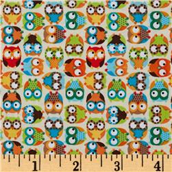Timeless Treasures Mini Owls Beige Fabric
