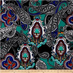 Liverpool Double Knit Print Paisley Teal/Navy/ Orange/ White