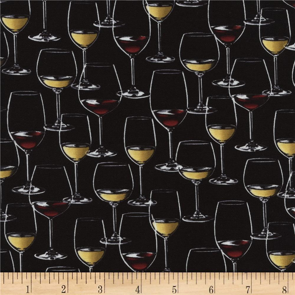 Timeless Treasures Wine Glasses Black