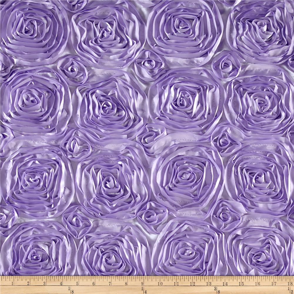 Wedding rosette satin lavender discount designer fabric for Satin fabric