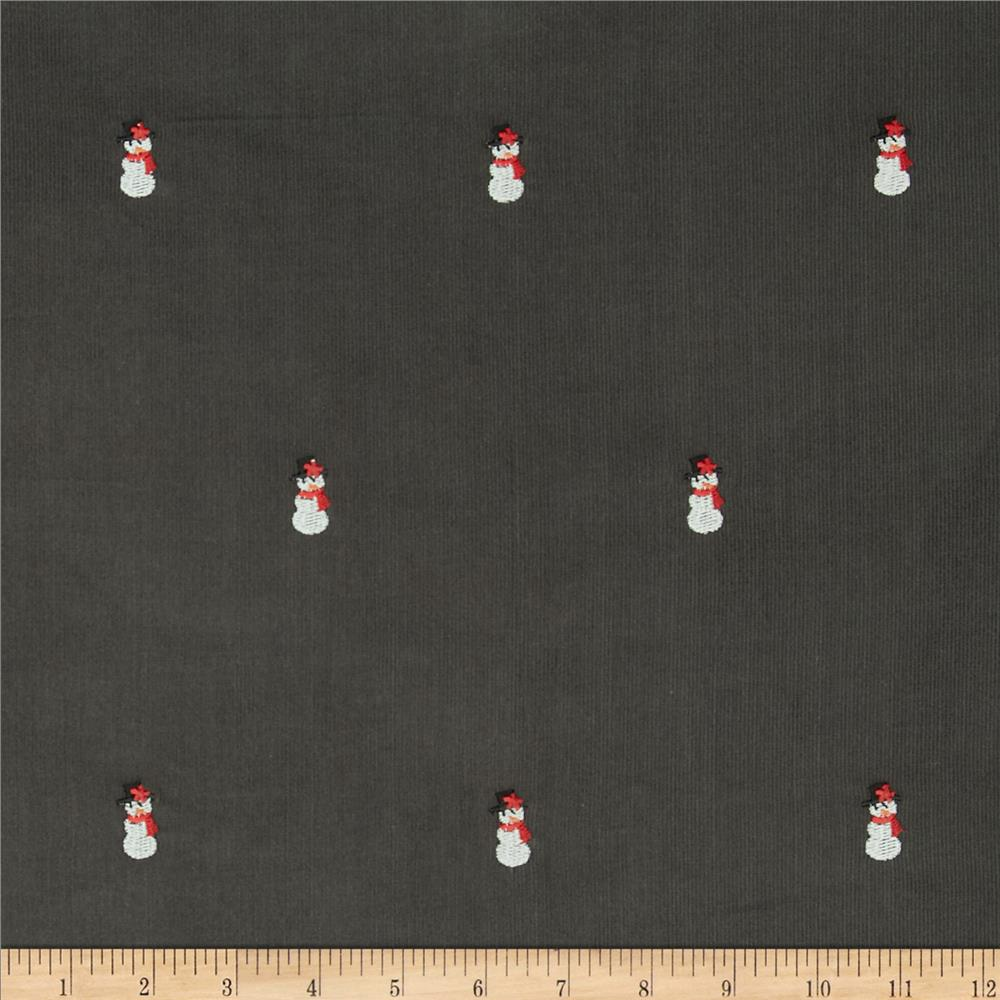 Embroidered 21 Wale Corduroy Snowman Graphite/White